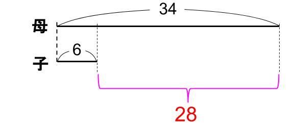 中学受験算数カンガループリント 年齢算 差一定 0130
