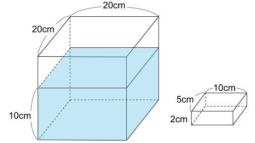 中学受験算数カンガープリント 水そうと水位0210